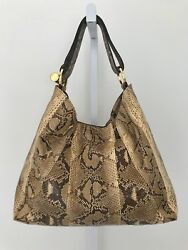MICHAEL KORS COLLECTION STUNNING NATURAL PYTHON PURSE BAG GOLD HARDWARE NWOTS!