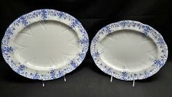 Shelley Dainty Blue - Pair Of Oval Serving Platters England Bone China