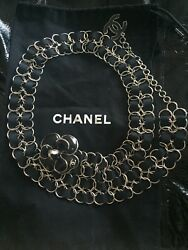 Authentic Chanel set Brooch Camelia and Belt chain