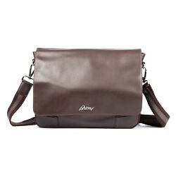 Brioni Brown leather Messenger briefcase cross body Bag NEW made in Italy