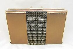 Bronze Metallic Crystal & Leather Clutch Evening Bag