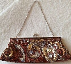 Bronze gold Evening clutch Bag by Apt 9 Satin with sequins beads crystals