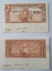 Uruguay Peso 1939. Rare. Seperate Front And Back Proof. With Printer Annotations
