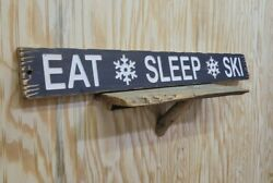 Eat Sleep Ski /carved/rustic/wood/sign/cabin/lodge/snow Skiing/mountains/décor