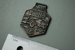 Euclid Pan Scraper Tractor Vintage Watch Fob Brass Heavy Equipment Earth Mover