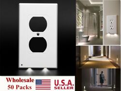 USA 50 Packs Night Angel Light Sensor Plug Cover Wall Outlet Cover Plate Switch
