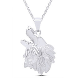 Mens Style Wolf Face Charm Pendant Necklace