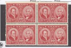 CANADA (MK3602) #148 VF-3MNH1 MISS GUM SPECK 20cts HISTORICAL BLK OF 4 CAT $315