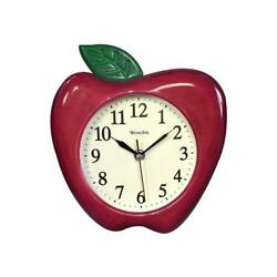 Westclox Analog Quartz 10quot; 3D Red Apple Resin Wall Clock 32038A