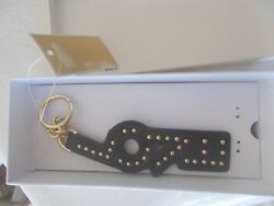 NWT  $48.00 MICHAEL KORS LEATHER CHARMS KEY CHAIN LOVE CHARM SOFT BLACK GOLD