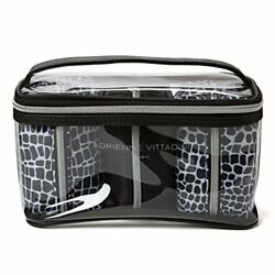 Adrienne Vittadini Cosmetic Compact Travel Toiletry Bag Set One Large Train Case