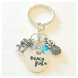 Beach Girl Silver Accessories Charm Keychain Gift for Ocean Lovers