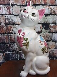 Ceramic Female Kitten Cat White Pink Floral Decorated Large Figurine 12.5