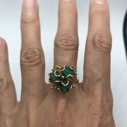Vintage 18k Yellow Gold 3 Raw Emerald Cocktail Ring Flower Free Form Custom 7.2g