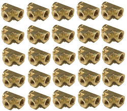 25 Pack Brass Forged Reducing Tee 1/4 X 1/4 X 1/8 Female Npt Fnpt