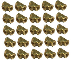 25 Pack Brass Forged Reducing Tee Fitting 1/4 X 1/4 X 3/8 Fnpt Female Npt