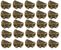 25 Pack Brass Forged Reducing Tee Fitting 3/8 X 1/4 X 3/8 Female Npt Fnpt Wog