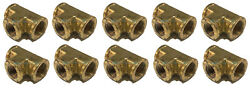 10 Pack Brass Forged Reducing Tee Fitting 3/4 X 3/4 X 1/2 Female Npt Fnpt Wog