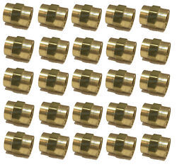 25 Pack Brass Hex Coupling 1/2 Coupler Union Fitting Adapter Air Fuel Water