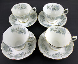 Set 7 X Teacups And Saucers Royal Albert Silver Maple Vintage England Reduced