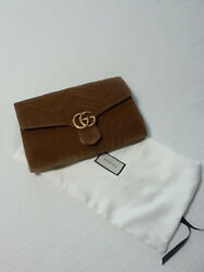 New Gucci GG Marmont Taupe Velvet Clutch with tags and dust bag