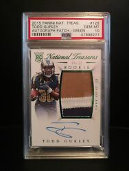 2015 National Treasures Psa 10 Todd Gurley Green Auto Patch Rc Jersey /30 Pop 1