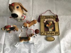 Lot of 5 Beagle Christmas Ornaments Various Styles Made of Resin