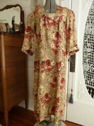 VINTAGE 40s RAYON FLORAL EMBROIDERED and FLOWER APPLIQUE DAY  DRESS  1940s