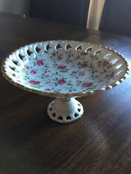 Lefton China Porcelain Roses Compote Serving Dish From Japan 650r Hand Painted