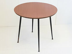 Coffee Table Round Dand039appont Formica And Steel 1950 1960 Vintage 50s 50and039s 60s 60and039s