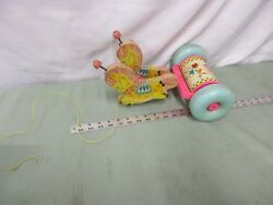 Vintage Fisher Pull Toy 137 Pink Horses Musical Chime 138 Banbury Cross Wooden