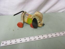 Vintage Fisher Pull Toy Black White Nosey Dog With Ears Sniffer Wood 445