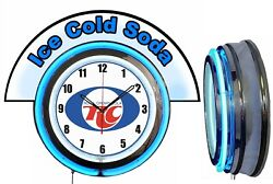 Rc Royal Crown Cola W/ Ice Cold Soda Marquee 19 Blue Neon Clock Mancave