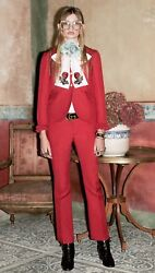 3.3k Ruffled Wool And Silk-blend Red Jacket And Pants Suit New With Tags