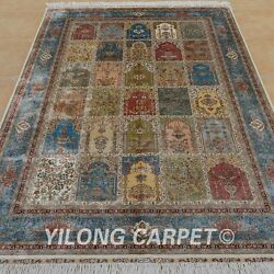 YILONG 6'x9' Persian Oriental Handwoven Silk Rug Four Seasons Home Carpet 0714