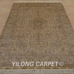 YILONG 6'x9' Persian Handmade Silk Rug Golden Washed Home Floral Carpet 0971
