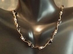 14k 2- Tone Solid Gold Alternated 7 Sapphires 20 Diamonds Choker Necklace 16.5