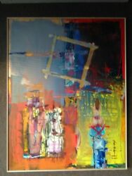 Abstract Original And New Oil On Canvas Painting With Brand New Frame