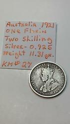 Australia One Florin Two Shilling 1921 Silver Coin Km27