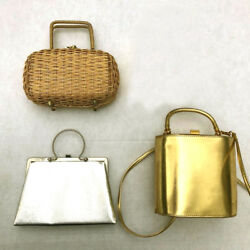 Lot of 3 1970#x27;s gold silver small evening bags handbags purses leather metal $85.00