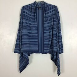 Chaps Womens Open Front Knit Cardigan Size L Large Striped Blue Sweater Cotton