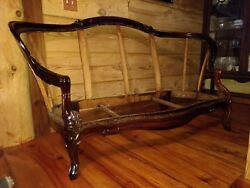 Antique French Louis Xv Hand Carved Walnut Settee