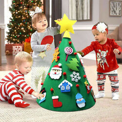 3D Cone DIY Craft Felt Christmas Tree Hanging Ornaments for Toddlers Children