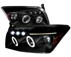 For 07-12 Dodge Caliber Matte Black Led Dual Halo Projector Headlights Lamps
