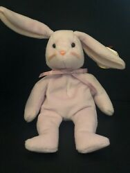 Retired 1996 Ty Floppity Lilac Easter Bunny Beanie Baby DOB 5-28-96 Style 4118