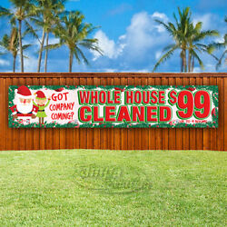 WHOLE HOUSE CLEANED $99 Advertising Vinyl Banner Flag Sign LARGE CHRISTMAS