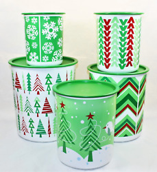 Tupperware Holiday 2013 One Touch 5pc Canister Set New 5,8,12,17.5,23 Cup