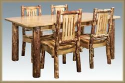 Log Dining Room Set 6 Ft Long Kitchen Table 4 Chairs Amish Made Furniture
