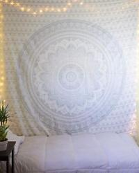 Indian Mandala Wall Hanging Silver Ombre Cotton Beach Blanket Art Twin Tapestry
