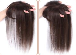 Clip In 100 Human Hair Mono Base Topper Toupee Piece Straight Hairpiece Bangs